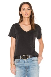 Bobi Distressed Jersey V Neck Tee Black