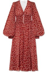 Caroline Constas Syros Smocked Printed Silk Chiffon Midi Dress Brick
