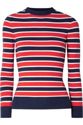 Joostricot Striped Stretch Cotton Blend Sweater Red
