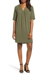 Bobeau Pleat Front Curved Hem Shirtdress Olive