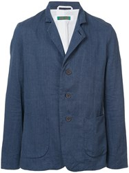 Casey Casey Notch Collar Single Breasted Jacket Blue