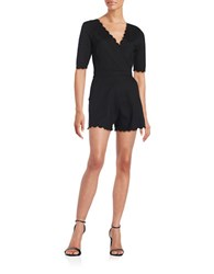 French Connection Scalloped Short Sleeve Romper Black
