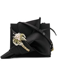 N 21 No21 Palm Tree Embroidered Bow Bag Black