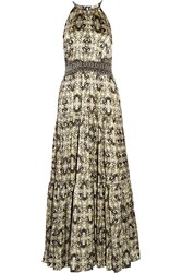 L'agence Penelope Printed Silk Gown Black
