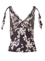 Paco Rabanne Floral Print Chainmail And Satin Top Silver