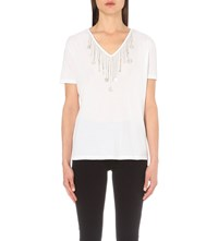 The Kooples Chain Embellished Jersey T Shirt White