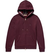 Burberry Fleece Back Cotton Blend Jerey Zip Up Hoodie Burgundy
