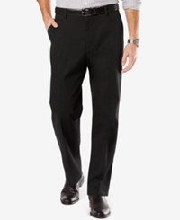 Dockers Men's Signature Relaxed Fit Khaki Flat Front Stretch Pants Black