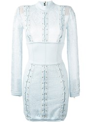 Balmain Lace Corset Mini Dress Blue
