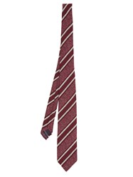 Dunhill Striped Silk Blend Tie Burgundy