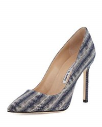 Manolo Blahnik Bb Metallic Woven 105Mm Pump Gray Metallic