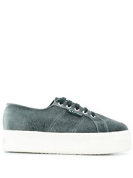 Superga Velvet Chunky Sole Sneakers Green