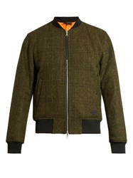 Rag And Bone Manston Reversible Wool Tweed Bomber Jacket Green