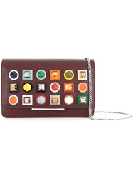 Fendi Studded Wallet On A Chain Leather Plastic Metal Brown