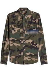 Valentino Cotton Camouflage Shirt With Dog Tag