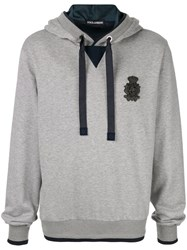 Dolce And Gabbana Logo Patch Hoodie Grey