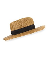 Eric Javits Squishee Cannes Boater Hat Natural Black