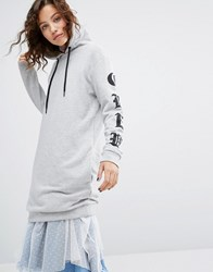 House Of Holland H By Henry Long Sleeve Hoodie With Gothic Printed Sleeves Grey Marl