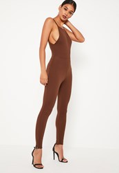 Missguided Brown Crepe Low Back Ankle Grazer Jumpsuit Chocolate