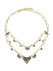 Alexis Bittar Elements Mosaic Chain Rose Crystal Light Ochre Crystal Clear Crystal And Black Mother Of Pearl Two Tier Necklace Gold