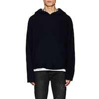 Rta Mixed Knit Cashmere Hoodie Navy