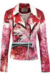 Mary Katrantzou Printed Cotton And Silk Blend Biker Jacket Pink