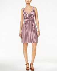 Maison Jules Sleeveless Striped Fit And Flare Dress Only At Macy's Dark Cobal Combo