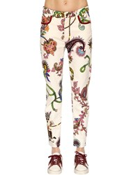 Etro Slim Fit Printed Cotton Denim Jeans White