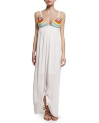 Mara Hoffman Prismatic Tie Front Maxi Dress Women's Rainbow Multi