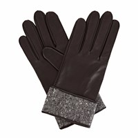 Gizelle Renee Beatrisa Black Leather Gloves With Black Speckle Wool