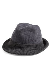 Women's Halogen Knit Overlay Felted Wool Fedora Grey Grey Charcoal Heather