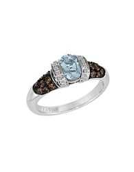 Le Vian Chocolatier Aquamarine Chocolate Diamond Vanilla Diamond And 14K White Gold Ring