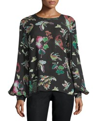Andrew Gn Butterfly Print Bishop Sleeve Blouse Black