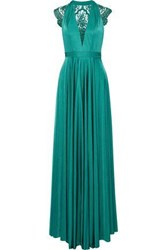 Catherine Deane Brooke Embroidered Tulle Paneled Satin Gown Jade