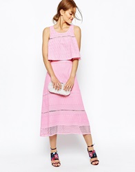 House Of Holland Broderie A Line Midi Skirt Pink