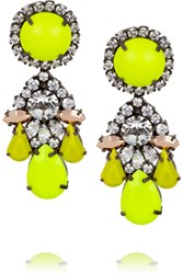 Shourouk Marguerit Silver Plated Swarovski Crystal Earrings Yellow