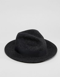 Asos Fedora Hat In Charcoal Marl Charcoal Grey