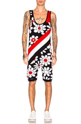 Thom Browne Daisy Floral Intarsia Singlet In Blue Floral Red White Blue Floral Red White