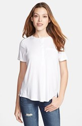 Women's Nydj Pleat Back Lightweight Henley Top