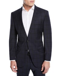 Boss Huge Genius Check Slim Fit Two Piece Wool Suit Blue