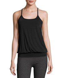 Beyond Yoga Sleek Stripe Overlap Racerback Twofer Tank Black
