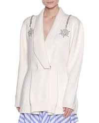 Francesco Scognamiglio Embellished Shoulder Drape Collar Cardigan White