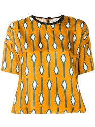 Alysi Loose Patterned T Shirt Yellow