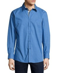 English Laundry Micro Print Button Front Sport Shirt Navy