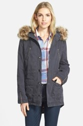 Caslon Hooded Utility Coat With Removable Faux Fur Trim Gray