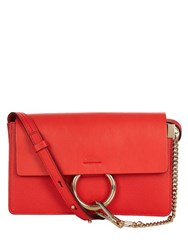 Chloe Faye Small Leather And Suede Clutch Red