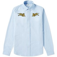 Kenzo Jumping Tiger Button Down Oxford Shirt Blue