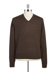 Brooks Brothers Red Fleece Merino Wool V Neck Sweater Brown