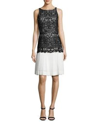 Oscar De La Renta Sleeveless Lace Chiffon Combo Dress Black White Black White