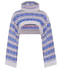 Stella Mccartney Cropped Wool Sweater Blue